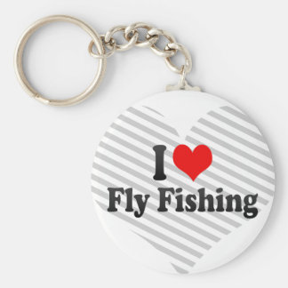 I love Fly Fishing Basic Round Button Keychain