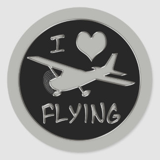I Love Flying Classic Round Sticker