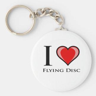 I Love Flying Disc Keychain
