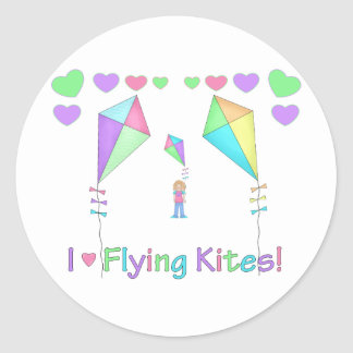 I Love Flying Kites Classic Round Sticker