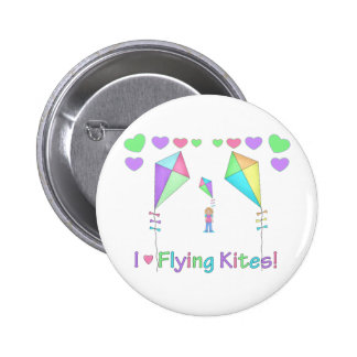 I Love Flying Kites Pinback Button