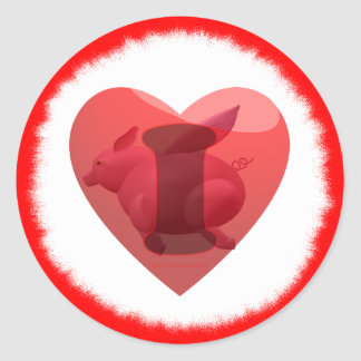 I love flying pigs classic round sticker