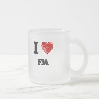 I love Fm Frosted Glass Coffee Mug