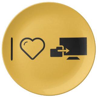 I Love Folder Uploads Porcelain Plate