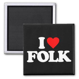 I LOVE FOLK 2 INCH SQUARE MAGNET