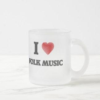 I love Folk Music Frosted Glass Coffee Mug