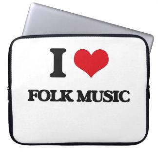 I Love FOLK MUSIC Laptop Computer Sleeve