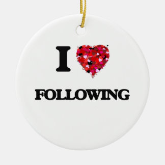 I Love Following Double-Sided Ceramic Round Christmas Ornament