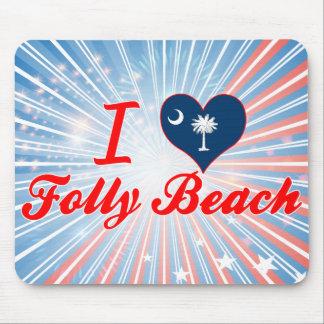 I Love Folly Beach, South Carolina Mouse Pads