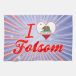 I Love Folsom, California Towels