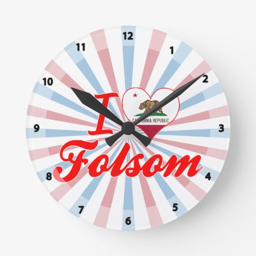 I Love Folsom, California Wall Clock