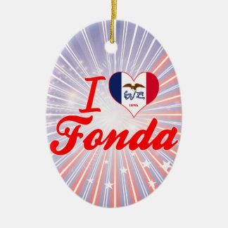 I Love Fonda, Iowa Double-Sided Oval Ceramic Christmas Ornament