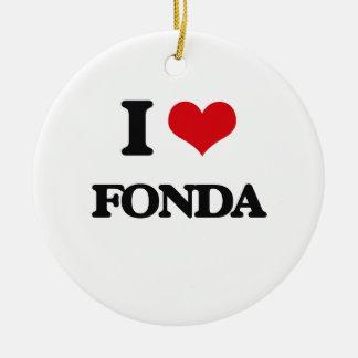 I Love Fonda Double-Sided Ceramic Round Christmas Ornament