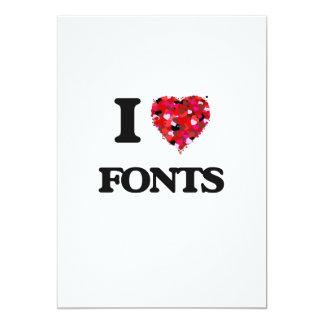 I Love Fonts 5x7 Paper Invitation Card
