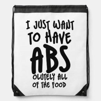 I love food humor drawstring bag