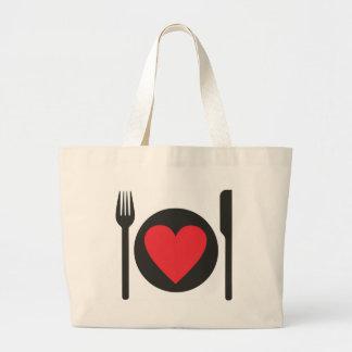 i love food large tote bag
