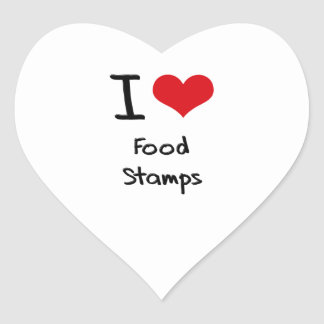 I Love Food Stamps Heart Sticker