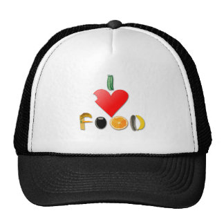 I Love Food Trucker Hat
