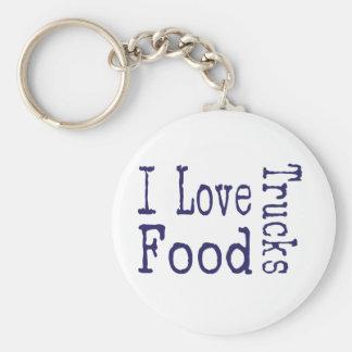 I love food trucks block basic round button keychain
