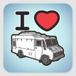 I Love Food Trucks! Square Sticker