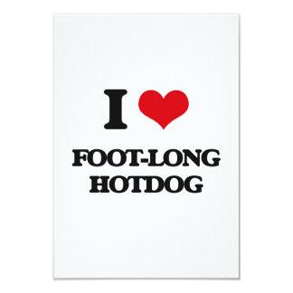 I love Foot-Long Hotdog 3.5x5 Paper Invitation Card