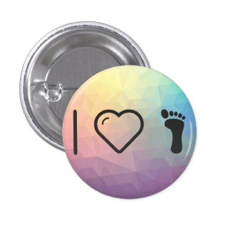 I Love Foot Prints 1 Inch Round Button