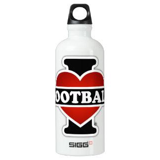I Love Football Aluminum Water Bottle