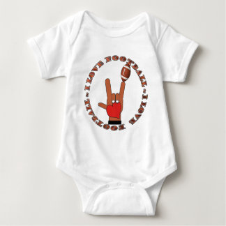 I Love Football ASL SIGN Baby Bodysuit