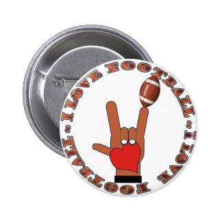 I Love Football ASL SIGN Pinback Button