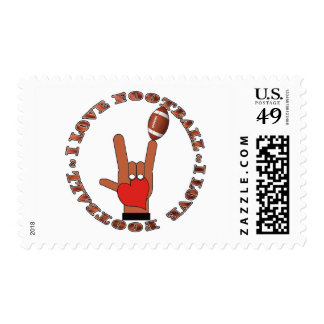 I Love Football ASL SIGN Postage Stamp