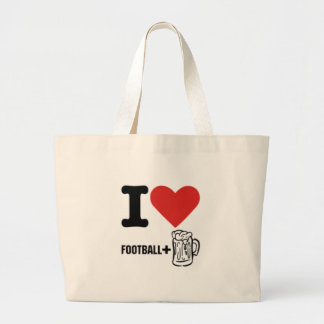 I love-football-beer jumbo tote bag
