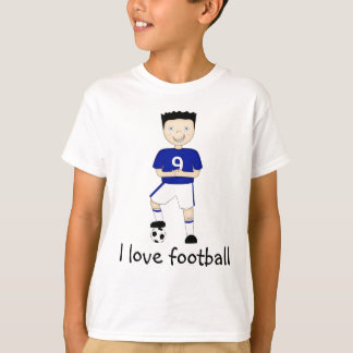I Love Football Cartoon Character in Blue Strip T-Shirt