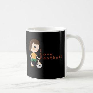 I Love Football Cartoon Design White Mug