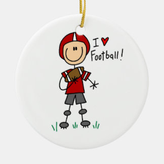I Love Football Ceramic Ornament