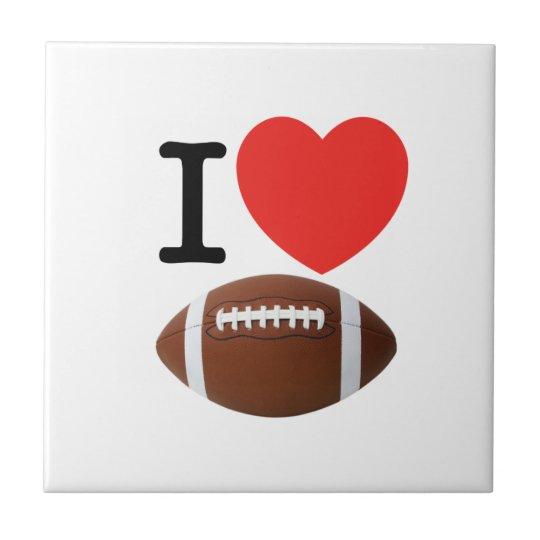 I Love Football Ceramic Tile