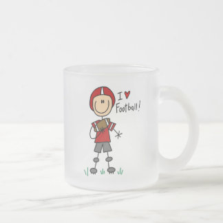 I Love Football Frosted Glass Coffee Mug