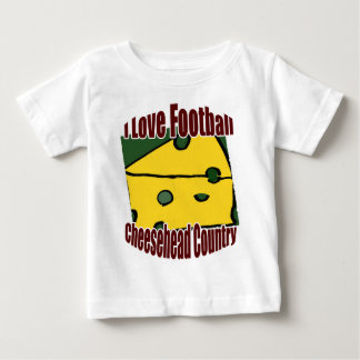I Love Football Green and Gold Cheesehead Country Baby T-Shirt