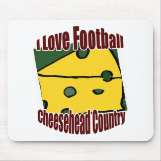 I Love Football Green and Gold Cheesehead Country Mouse Pad