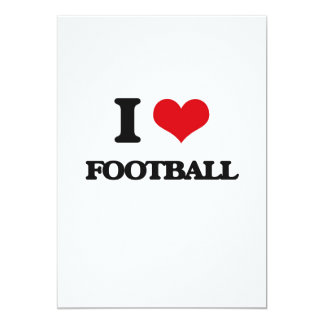 i LOVE fOOTBALL 5x7 Paper Invitation Card