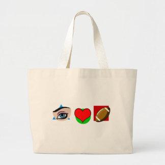 I love football large tote bag