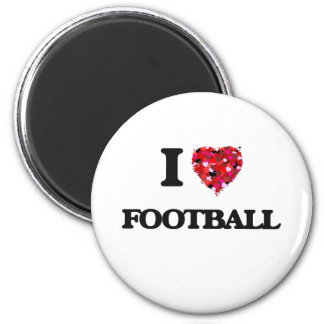I Love Football 2 Inch Round Magnet
