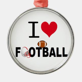 I LOVE FOOTBALL METAL ORNAMENT
