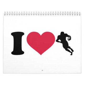 I love Football player Calendar