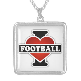 I Love Football Silver Plated Necklace