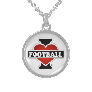 I Love Football Sterling Silver Necklace
