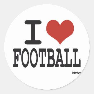 I LOVE FOOTBALL CLASSIC ROUND STICKER