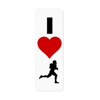 I Love Football (Vertical) Label
