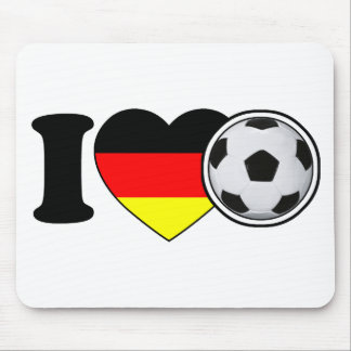 """I Love football"" - with popular Germany heart Mouse Pad"