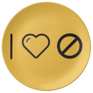 I Love Forbidden Signs Porcelain Plates
