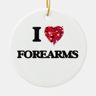 I Love Forearms Double-Sided Ceramic Round Christmas Ornament